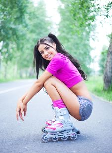 Free Woman On Roller Skates Royalty Free Stock Photography - 19712167