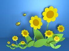 Free Flowers And Bees Royalty Free Stock Image - 19713646