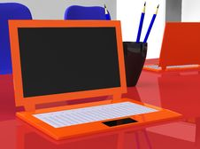 Free Stereoscopic Laptops On Red Table With Pencils Stock Photography - 19713972