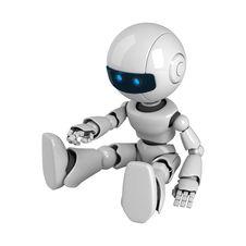 Free White Robot Sit Stock Image - 19714231