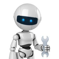 Free White Robot Stay With Wrench Stock Photos - 19714383