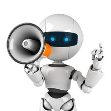 Free White Robot Stay With Megaphone Stock Photo - 19714440