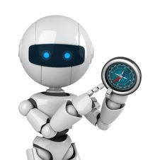 Free White Robot Stay With Compass Stock Photo - 19714500