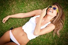 Free Smiling Woman On The Grass Royalty Free Stock Images - 19714789