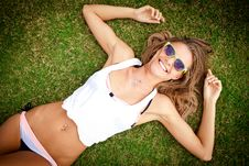 Free Smiling Woman On The Grass Royalty Free Stock Photo - 19714795