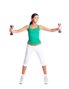 Free Woman With Dumbbells Royalty Free Stock Image - 19715226