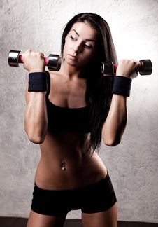 Free Woman With Dumbbells Stock Image - 19715731