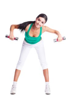 Free Woman With Dumbbells Royalty Free Stock Photo - 19716045