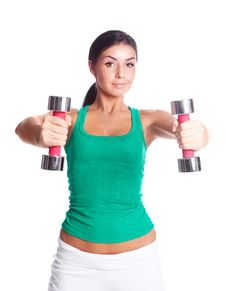 Free Woman With Dumbbells Stock Image - 19716091