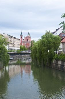 River And Old Town Centre With Church In Ljubljana Stock Photo