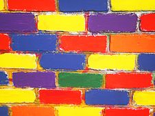 Free Brick Wall Painted Children Stock Photos - 19716333