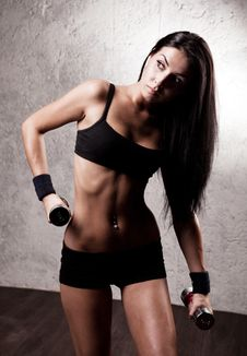 Free Woman With Dumbbells Royalty Free Stock Photo - 19716475