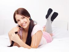 Free Girl On The Bed Stock Images - 19716684