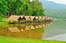 Free Shelters Beside Reservoir In Chiangmai, Thailand. Stock Photo - 19716970