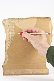 Free Old Hand Writing On Cardboard Stock Photography - 19717072