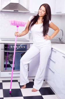 Free Housewife With A Broom Stock Photography - 19717102