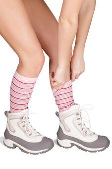 Women S Feet In Winter Boots Stock Photo