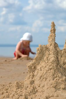 Free Sandcastle And Playing Child Stock Photos - 19718123