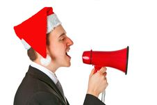 Free Businessman With Chrismas Hat Royalty Free Stock Photography - 19718487
