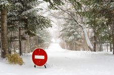 Free Stop Sign On Winter Forest Road Stock Photography - 19718522