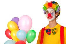 Free Colorful Clown With Balloons Stock Photos - 19718533