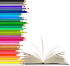 Free Background With Color Pencils And Book Stock Photos - 19720073