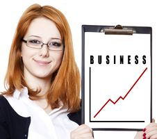 Free Business Woman With A Represent Folder. Royalty Free Stock Images - 19720119