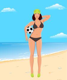 Active Girl With Ball On Beach Stock Photos