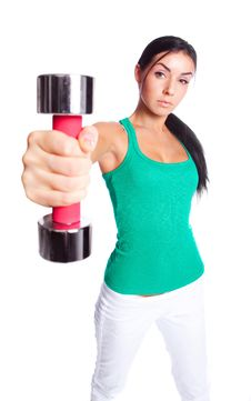 Free Woman With Dumbbells Stock Photos - 19721013