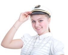 Free Beautiful Girl In The Captain S Cap Royalty Free Stock Photo - 19721025