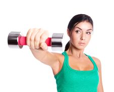Free Woman With A Dumbbell Stock Image - 19721071