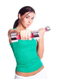 Free Woman With Dumbbells Royalty Free Stock Images - 19721139