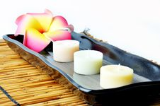 Free Three Candles And Plumeria In Plate. Royalty Free Stock Image - 19721206