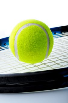 Free Tennis Ball On Racket Stock Photo - 19721330