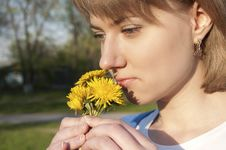 Free Girl And Dandelions Stock Image - 19722511