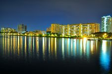 Pandan Reservoir Waterfront By Night Royalty Free Stock Photo