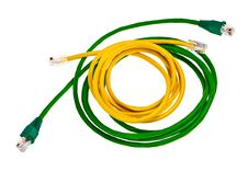 Free Green And Yellow Patch Cords. Stock Images - 19723004