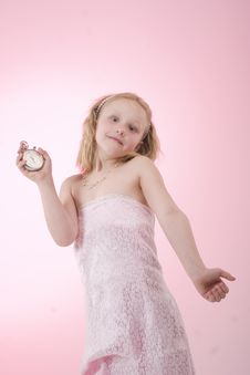 Free A Girl With Clock Stock Photography - 19723042