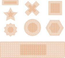 Free Set Of Plasters Isolated On White Royalty Free Stock Images - 19723479