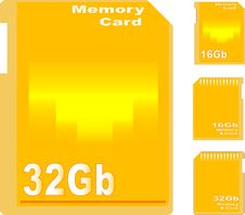 Free Set Of Golden Memory Card Isolated Royalty Free Stock Photo - 19724335