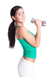 Free Woman With Dumbbells Royalty Free Stock Photography - 19724437
