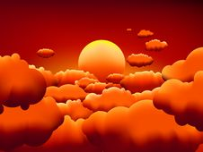 Free Golden Sunset Clouds Background. EPS8 Royalty Free Stock Photo - 19724445