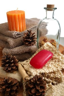 Free Soap, Towels And Candles Stock Images - 19724934