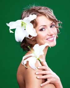Free Woman With A Lily Royalty Free Stock Photos - 19727178