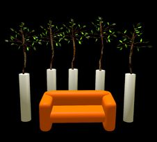Free Composition A Sofa Under Trees Royalty Free Stock Photography - 19727187