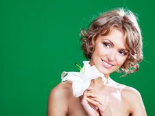 Free Woman  With A Lily Stock Photography - 19727242