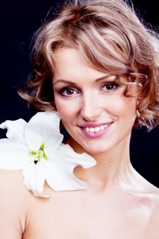 Free Woman  With A Lily Stock Images - 19727344