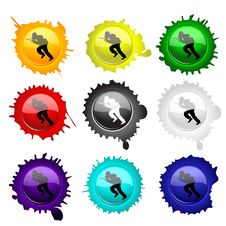 Free Paintball Glass Buttons For Your Design Royalty Free Stock Photography - 19727487