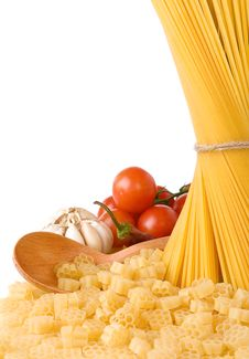 Free Raw Pasta And Wooden Spoon Isolated Royalty Free Stock Image - 19728666