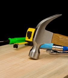 Free Hammer And Other Tool On Wood Royalty Free Stock Photos - 19728688